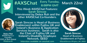Sarah Simcoe's Video Interview available on www.axschat.com