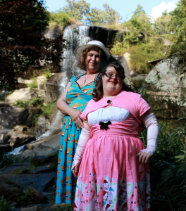 Debra and Sara Posing in front of a waterfall
