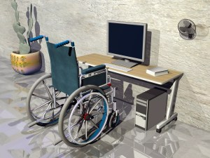 Wheel Chair and Desk 3d image