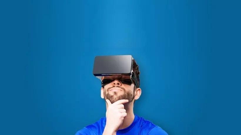 Man using Virtual Reality headset.