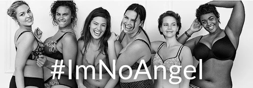 Ashley Graham (3rd person form the left), photographed in the #ImNoAngel Campaign by Lane Bryant,