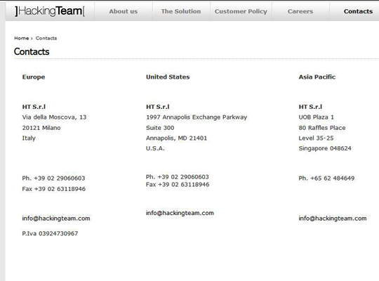 Das Hacking Team wohnt auch in den USA, Screenshot www.hackingteam.it