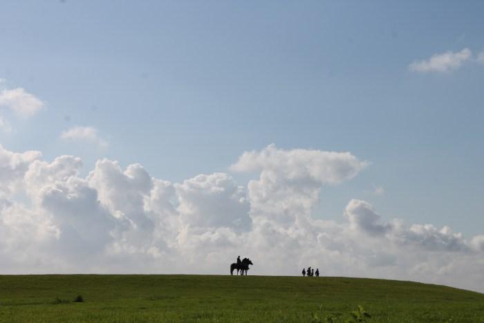 Mit Pferden in den Bergen.