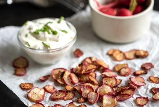 Radieschen Chips gesunder Snack aus Gemüse