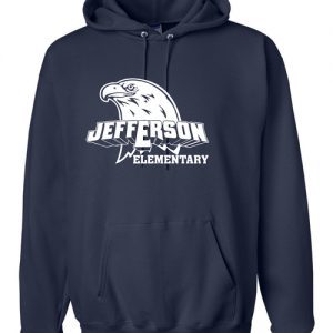 Jefferson Elementary Adult Hooded Sweatshirt Navy