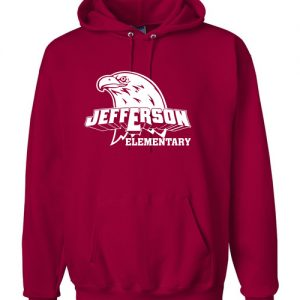 Jefferson Elementary Adult Hooded Sweatshirt Red