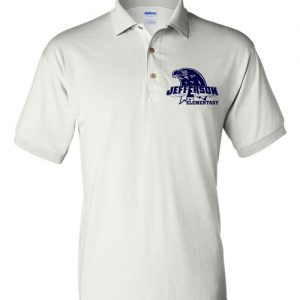 Jefferson Elementary Adult Short Sleeve Polo Shirts White