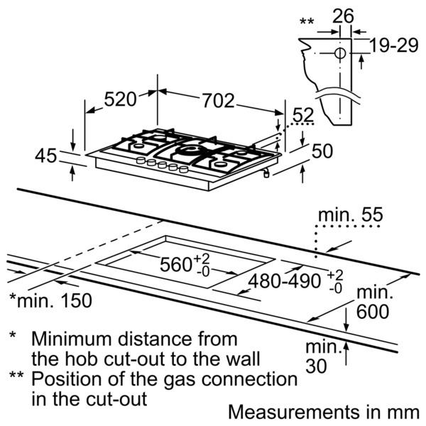 SIEMENS Hob Gas 70cm IQ500 Stainless Steel