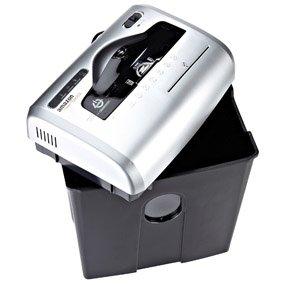 AmazonBasics - Destructora de papel, tarjetas de crédito y CD con recipiente separable (corte cruzado, capacidad de hasta 12 hojas), gris
