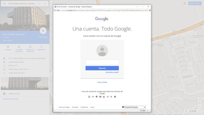 inicio de sección en google maps