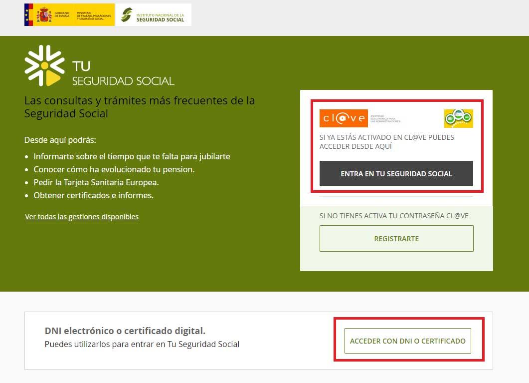 Página web de tu Seguridad Social