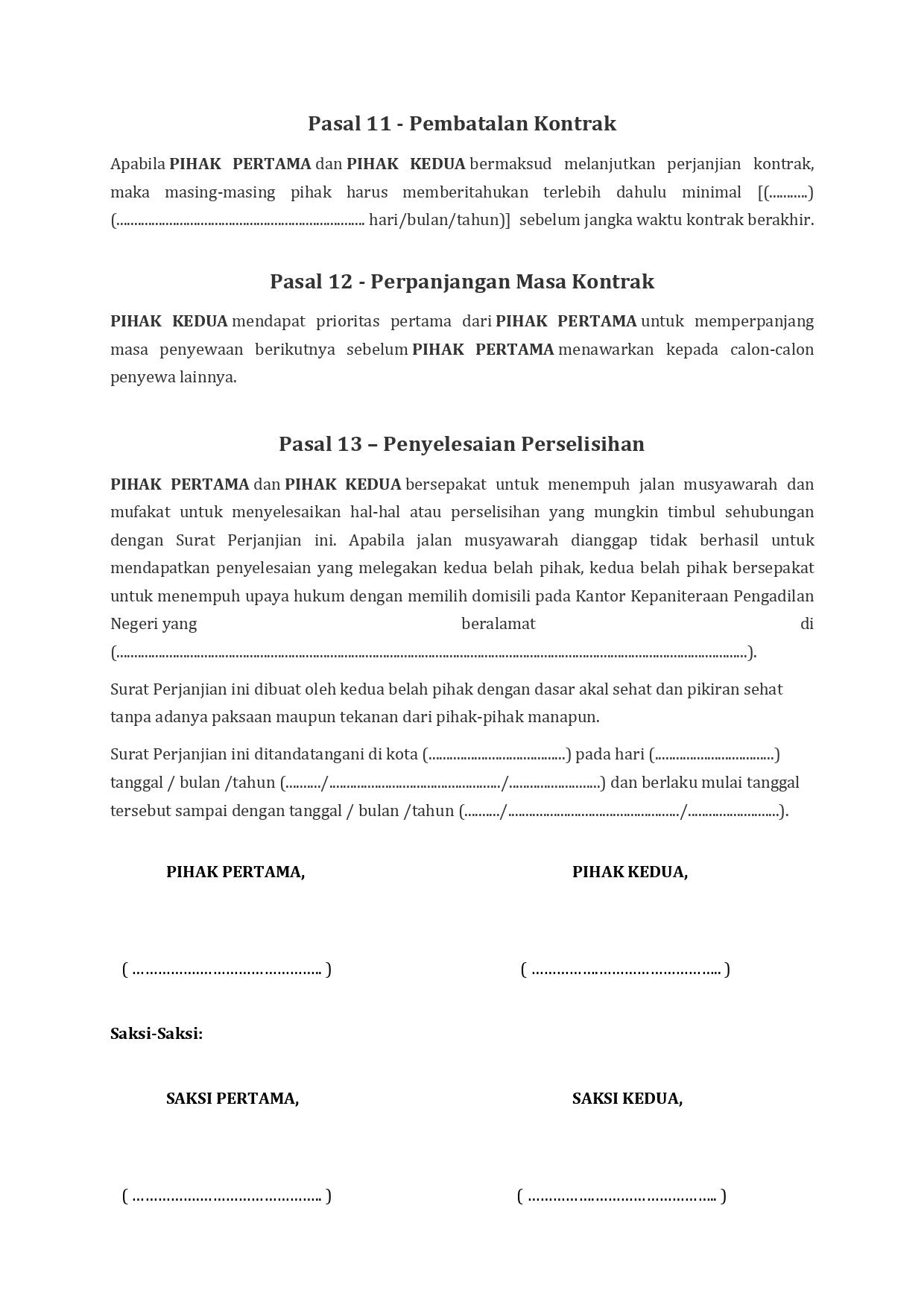 Contoh Surat Perjanjian Jual Beli Ruko