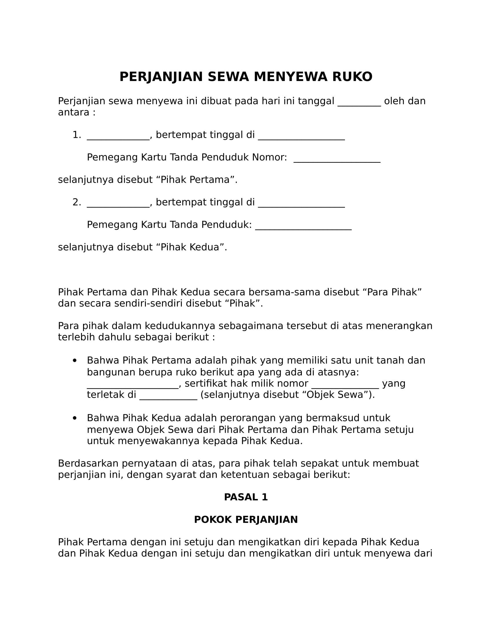 Begini Contoh Surat Perjanjian Sewa Ruko Rumah Toko