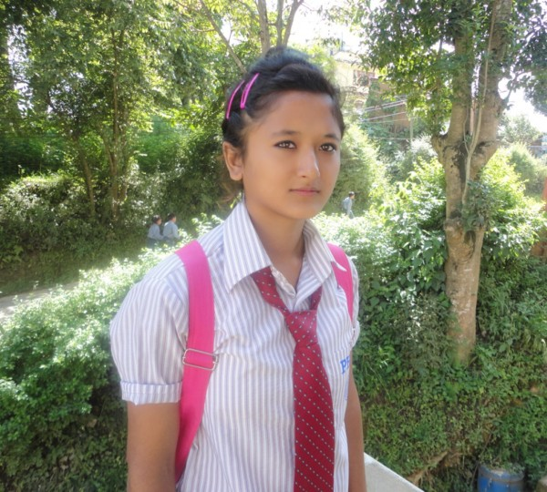 Anita in her new school uniform for class 11