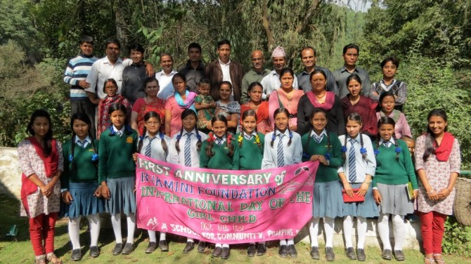 A group picture with everyone that came to celebrate our anniversary in Pharping, Nepal.