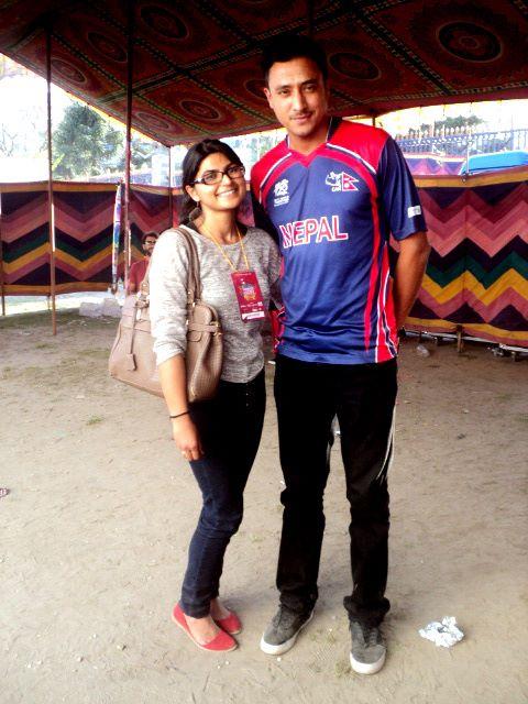 Prakriti_with_Nepal_Cricket_Captain_Paras_Khadka