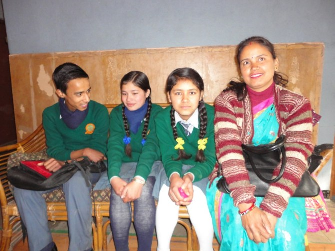 Junu and other students from Sikharapur School slightly nervous as they wait for the interview