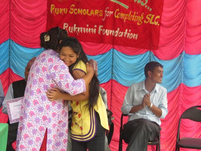 Susmita Sunar Hugs Pushpa didi