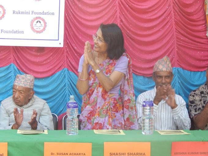 Chief guest Susan Acharya taking the honour
