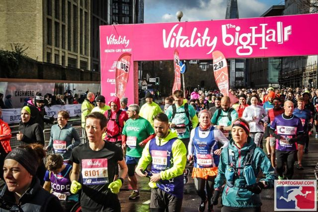 Vitality Big Half start line, displaying all shapes and sizes of runner's bodies.