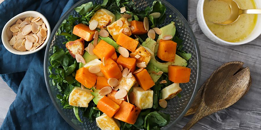 Keto Roasted Pumpkin & Halloumi Salad