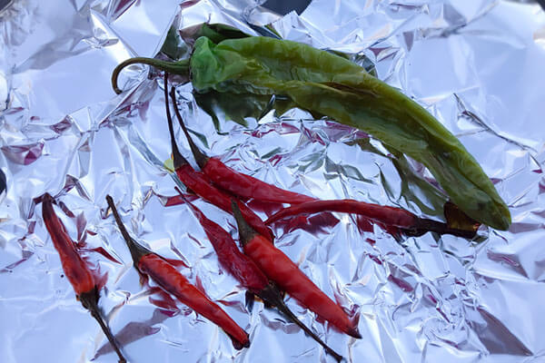 Peppers on foil.