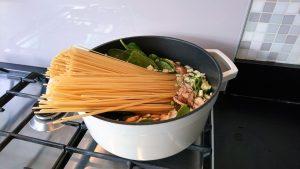 spaghetti en groente