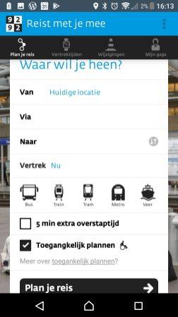 Toegankelijk plannen in de app aan