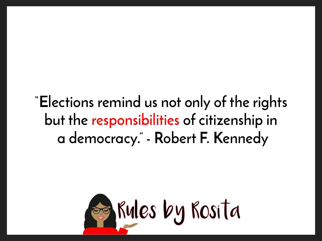 Elections remind us not only of the rights but the responsibilities of citizenship in a democracy. -Robert F Kennedy
