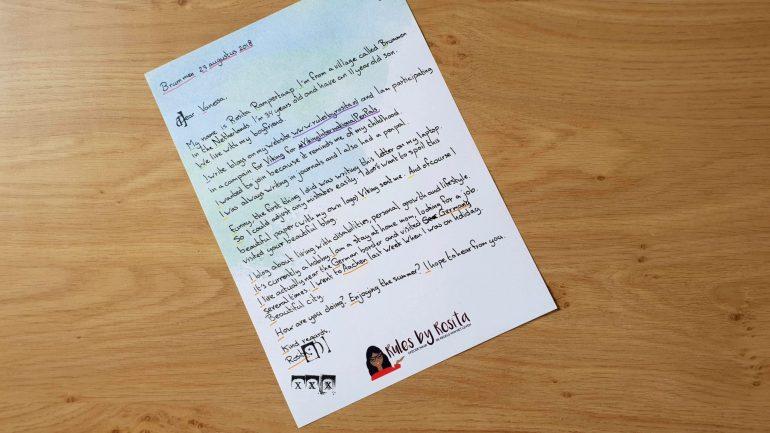 Mijn brief aan Vanessa Letter
