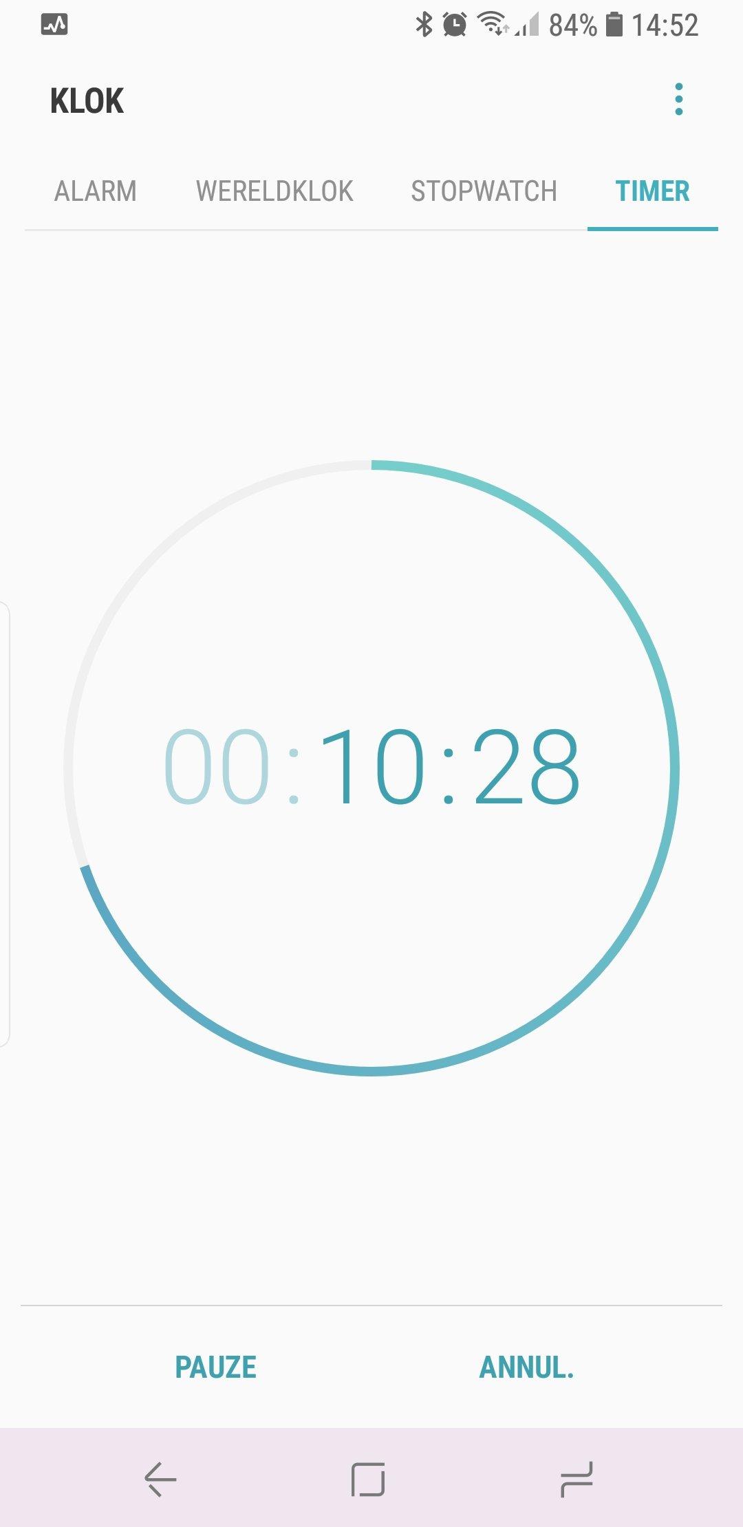 De timer waarbij de blauwe lijn afloopt.