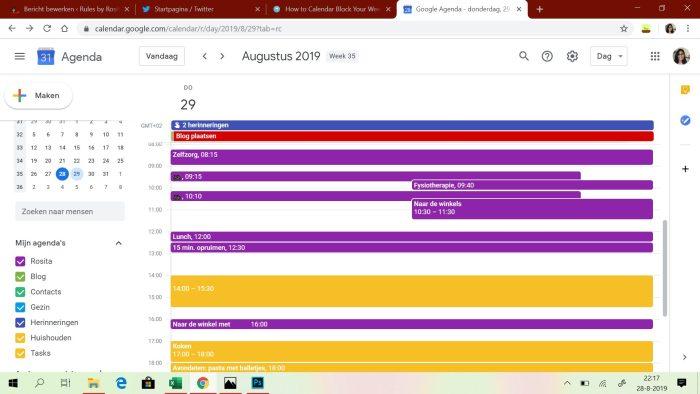 Mijn planning voor vandaag, donderdag 29 augustus.