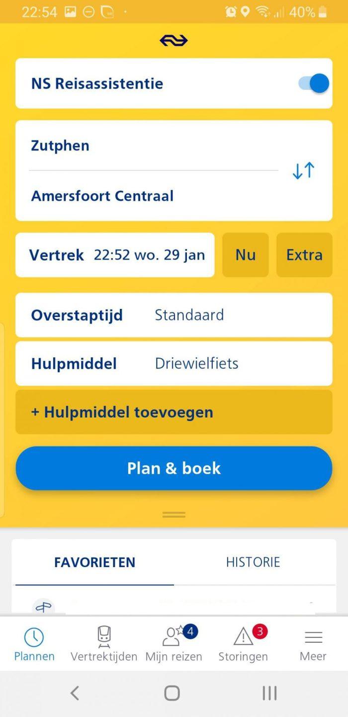 NS reisassistentie aanvragen in de NS App, het hulpmiddel, de driewielfiets is geselecteerd.