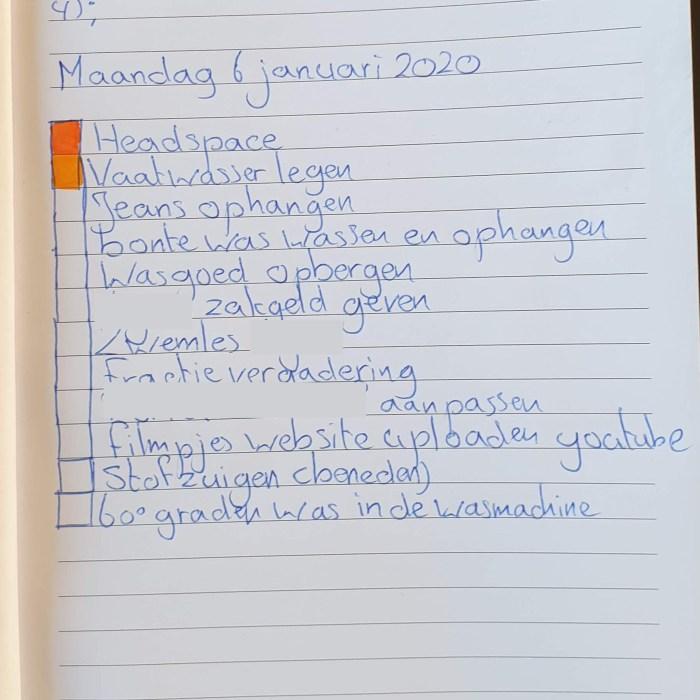 een lijstje in mijn notitieboek