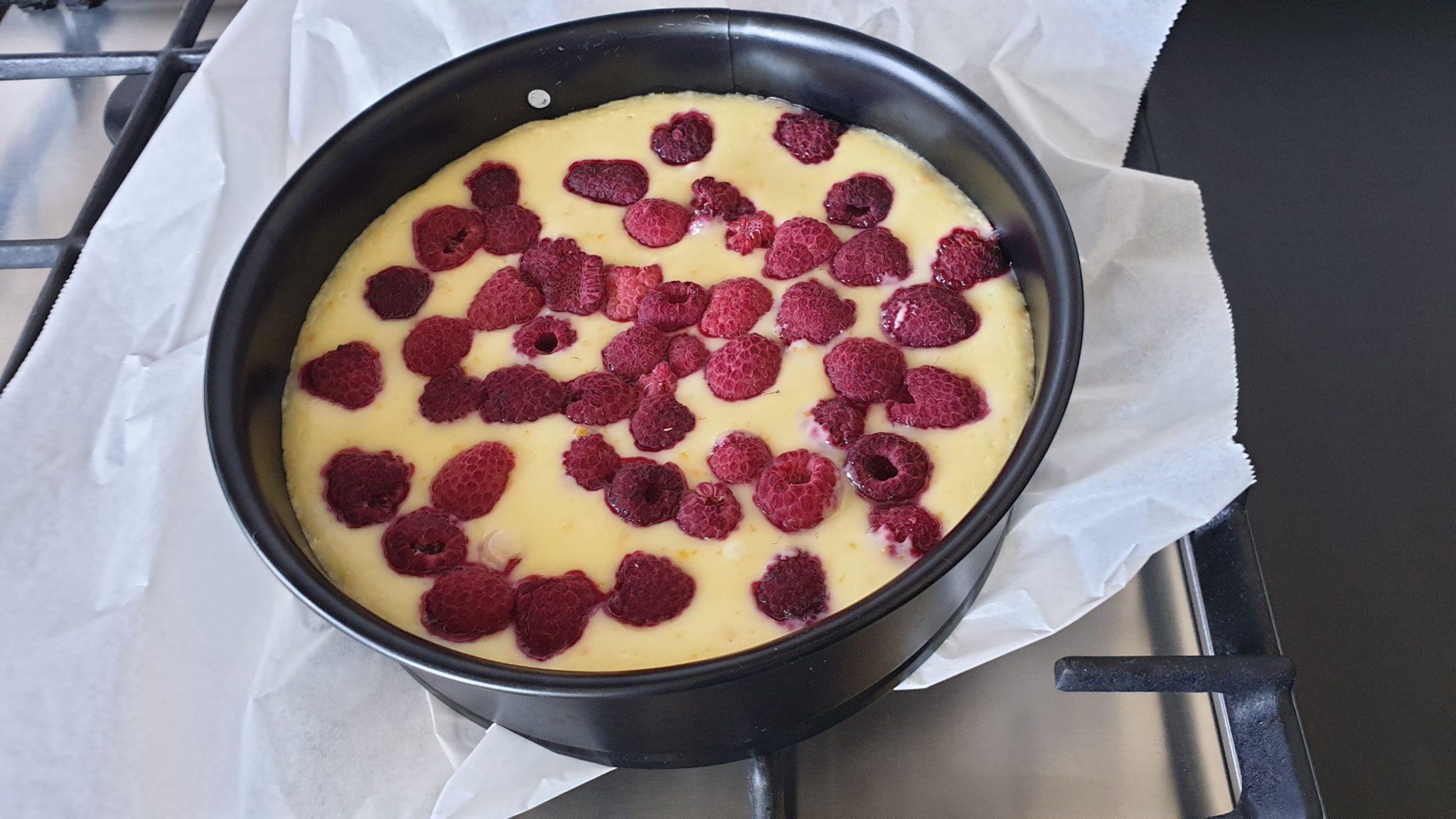 Cheessecake met witte chocola en frambozen