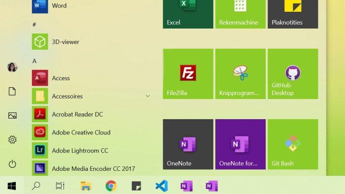 De verschillende iconen van OneNote in de taakbalk en het startmenu in Windows