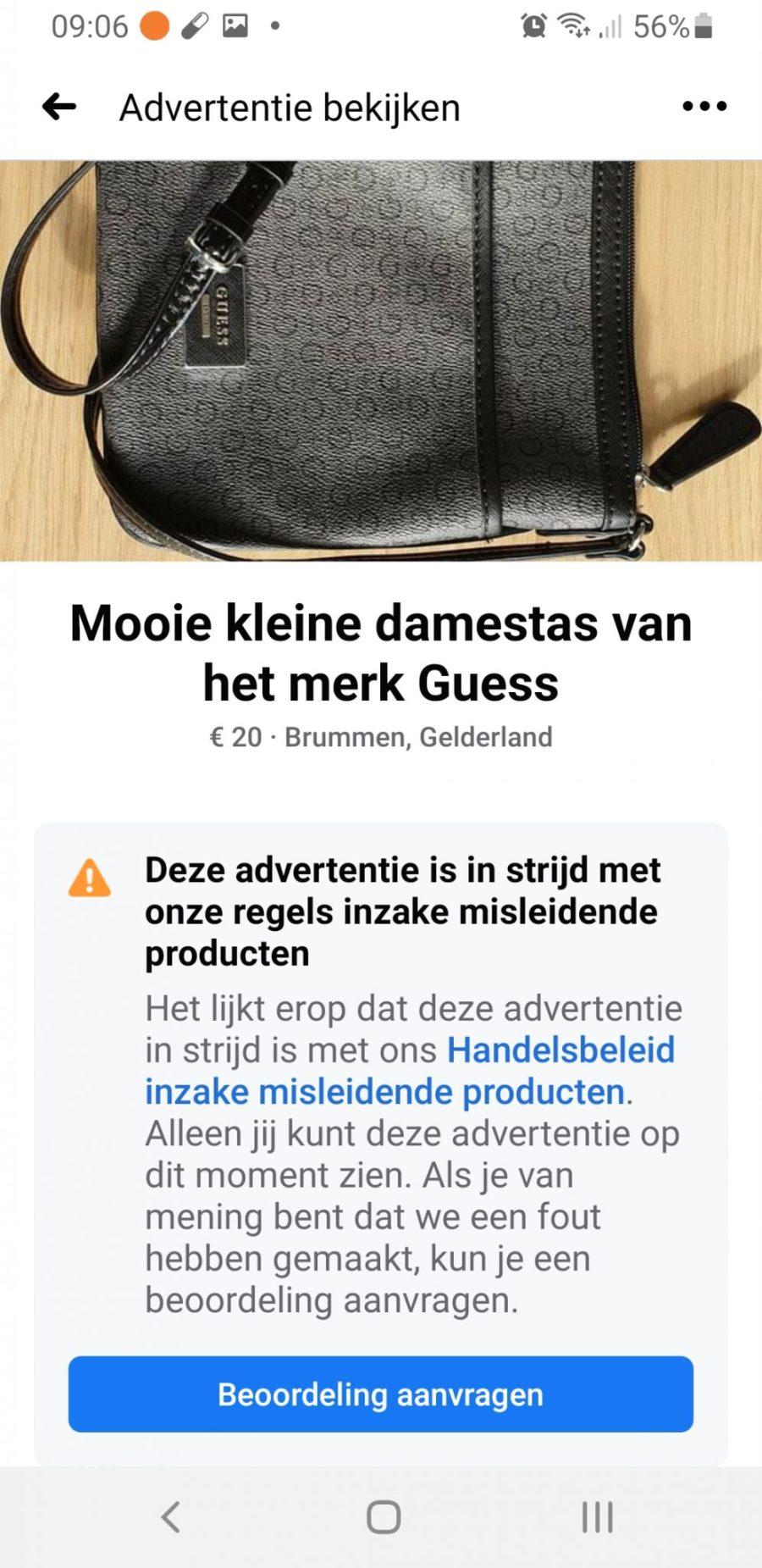 Mijn advertientie was in strijd met de regels van Facebook inzake misleidende producten.