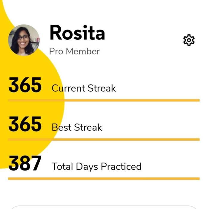 Current daily streak 365 days