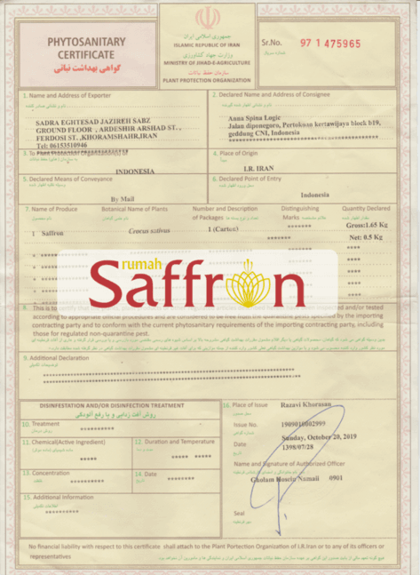 sertifikat saffron iran, supplier saffron, rumah saffron