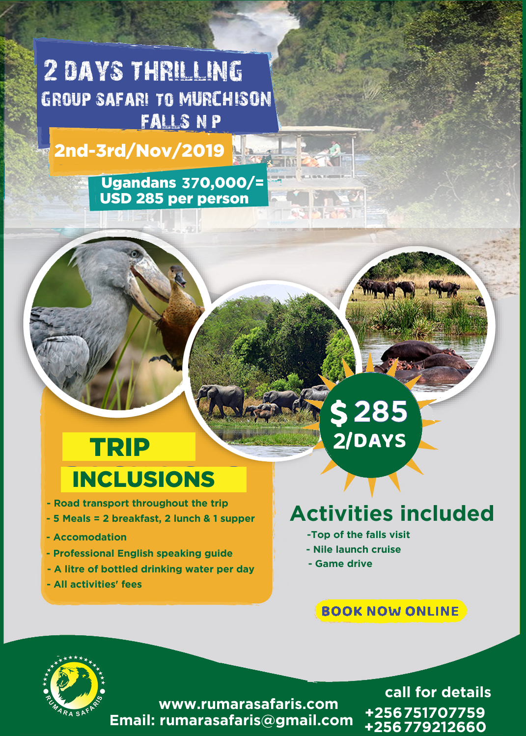 Wildlife safari to Murchison falls Uganda