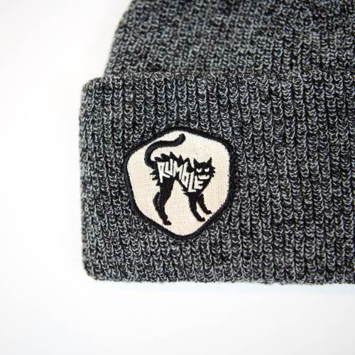 beanie with rumble cat badge