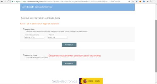 pedir el certificado de nacimiento español a través de internet