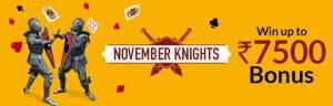 November knights junglee rummy bonus