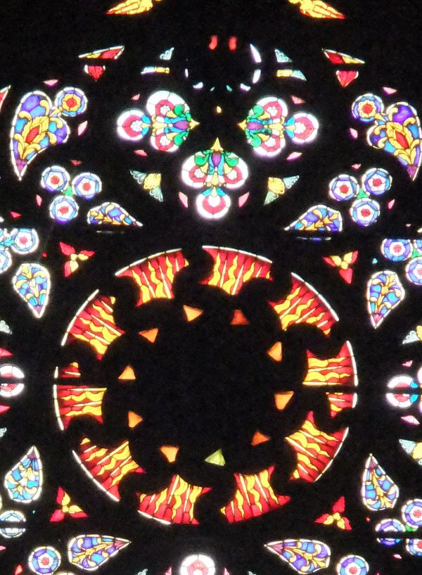 """The """"Black Sun"""" stained glass window in the Milan Cathedral, referred to in  Fulford's full report"""