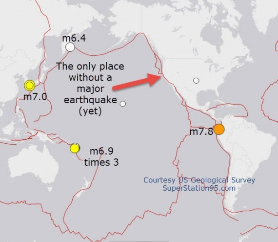 2 PICS of map showing ring of fire quakes and possible