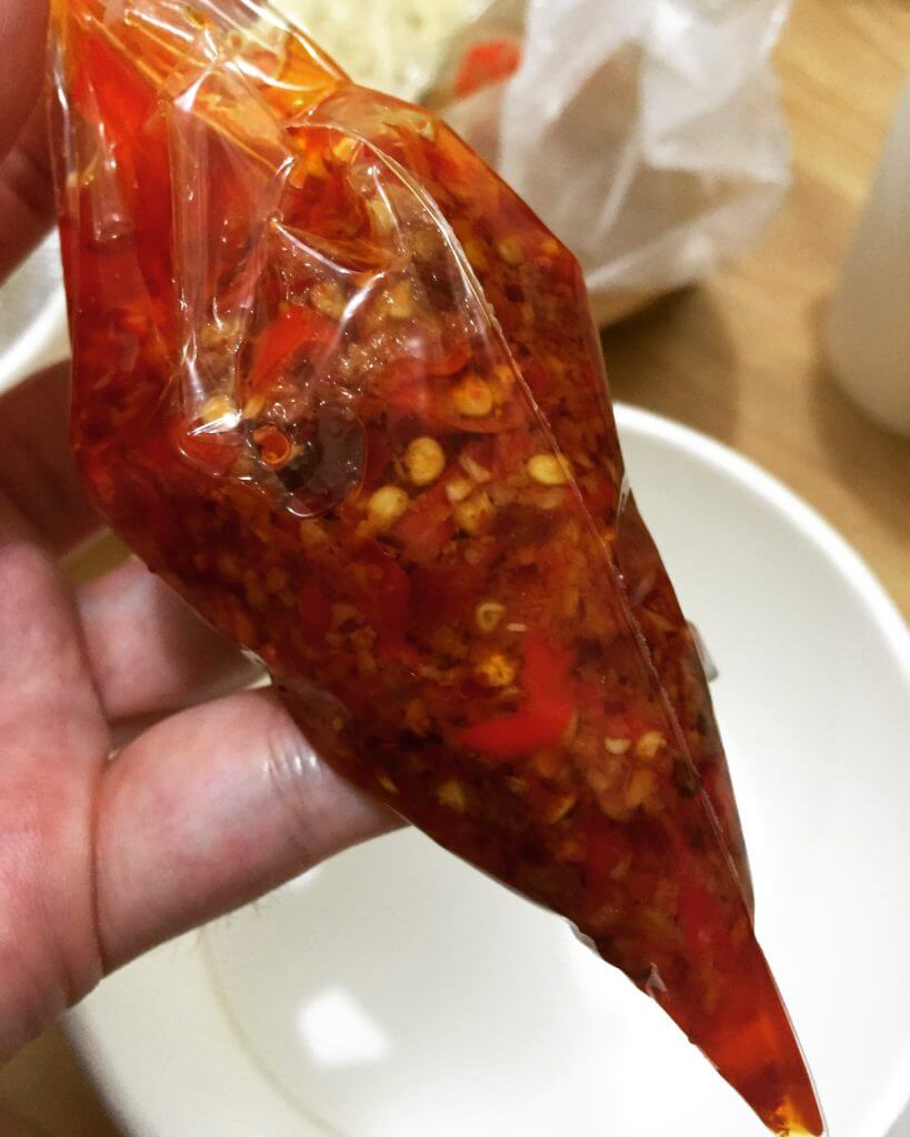 老陳涼麵特製辣椒醬。(圖/吐司客拍攝)