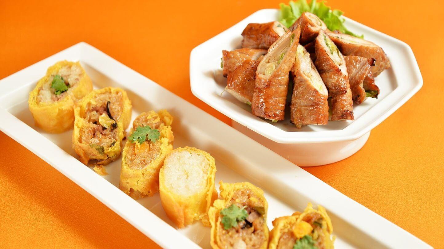 六款甜鹹口味米糕捲搭配阿舍家大菜金錢肉。(圖片來源:台南晶英酒店提供)