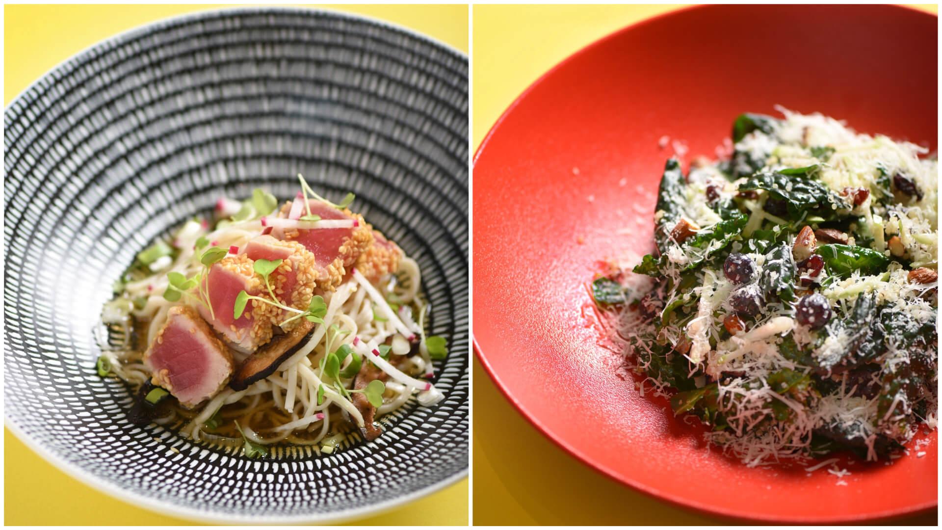 芝麻鮪魚蕎麥麵沙拉和有機藜麥甘藍沙拉。(圖片/台北W飯店提供)