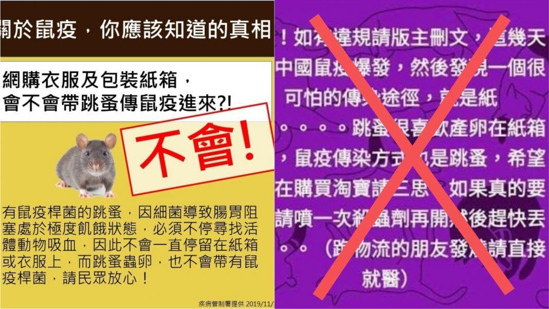 中國鼠疫 傳染途徑就是紙箱 ?人一旦感染後飛沫就能傳染?錯誤謠言勿再轉發!(左圖/疾管署提供,右圖/翻攝自網路)