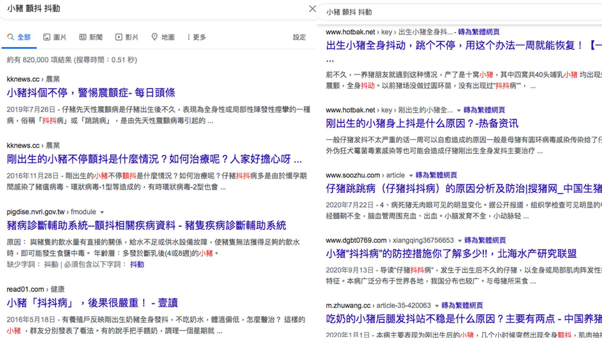 使用簡單的關鍵字Google搜尋之結果。
